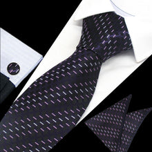 Load image into Gallery viewer, Mens Black Purple Pattern Silk Tie Hanky Cufflinks - GENTS CLOBBER
