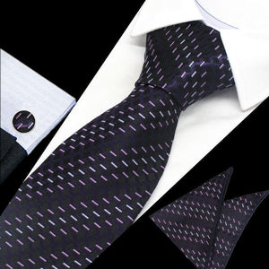 Mens Black Purple Pattern Silk Tie Hanky Cufflinks - GENTS CLOBBER