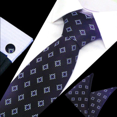 Mens Purple White Diamond Check Silk Tie Hanky Cufflinks - GENTS CLOBBER