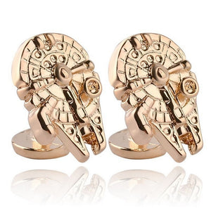Star Wars Millennium Falcon Mens Retro Novelty Gold Plated Zinc Alloy Cufflinks - GENTS CLOBBER