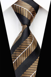 Classic Mens Brown Black Stripe Silk Tie - GENTS CLOBBER