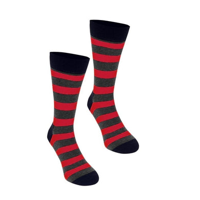 Happy Socks Mens Pair Navy Blue Red Grey Stripe UK 7½-11½ - GENTS CLOBBER