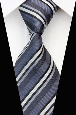 STRIPED TIE | DARK GREY BLACK WHITE | GENTS CLOBBER