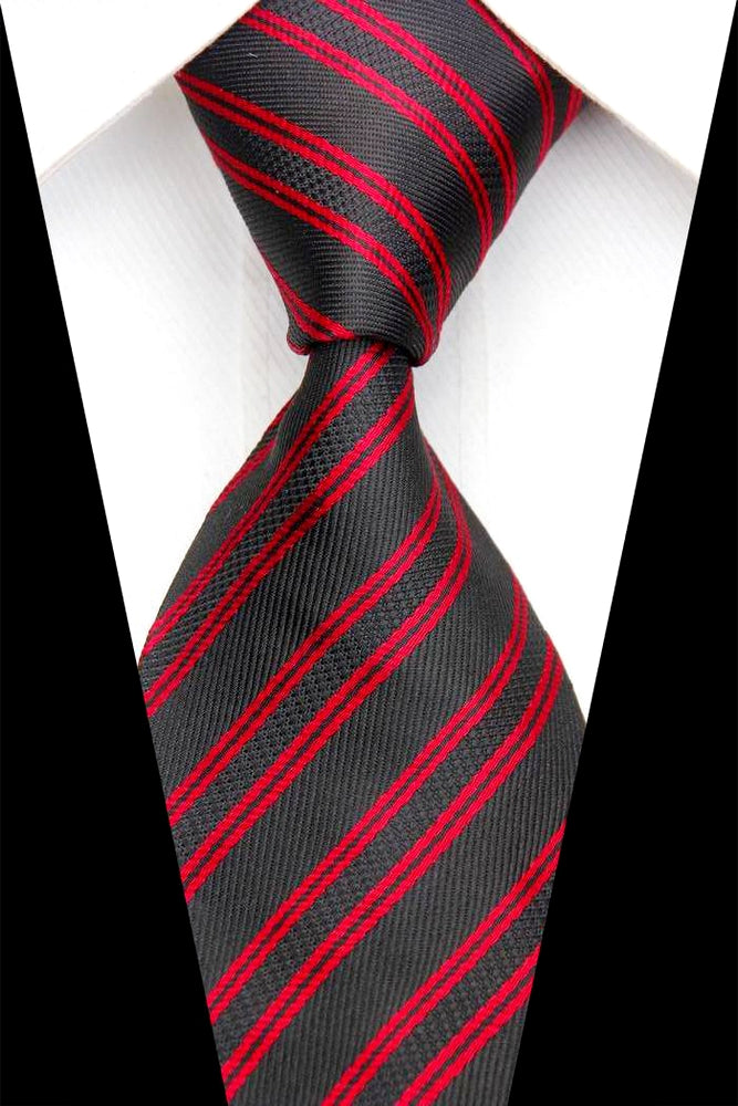 BLACK RED STRIPED TIE | SILK TIE | GENTS CLOBBER