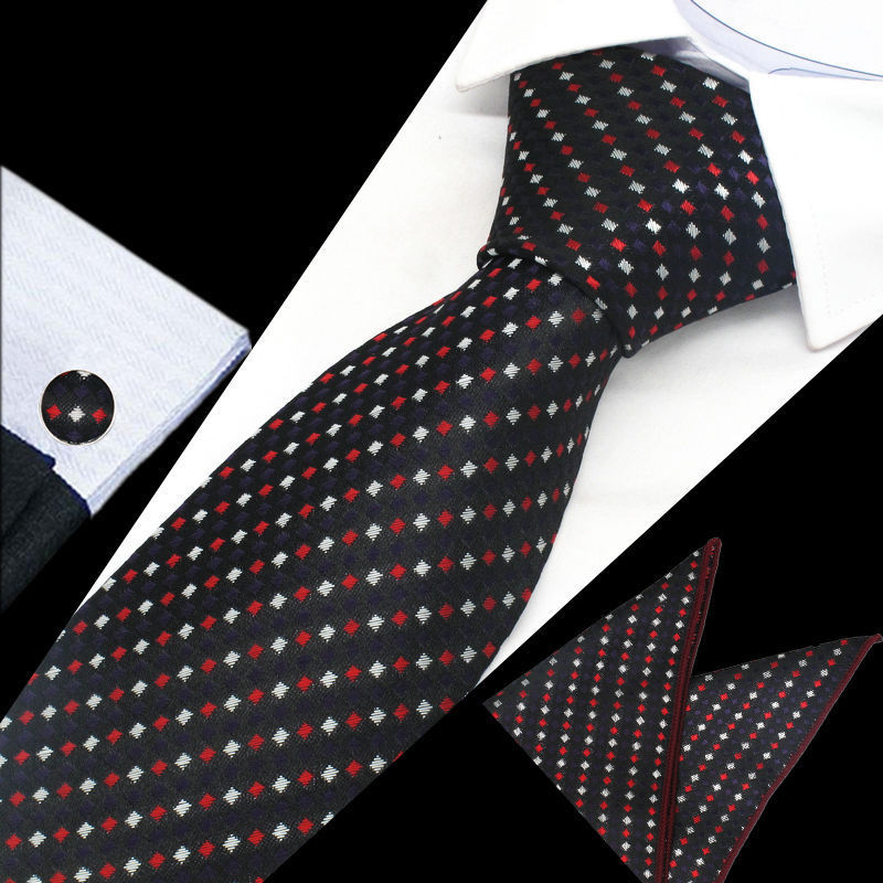 Mens Black White Red Check Silk Tie Hanky Cufflinks - GENTS CLOBBER