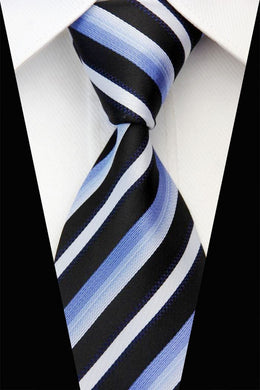 BLACK STRIPED TIE | SILK TIE | GENTS CLOBBER