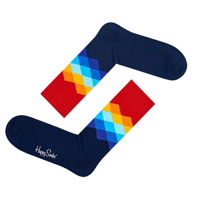 FADED DIAMOND HAPPY SOCKS | ARGYLE | GENTS CLOBBER
