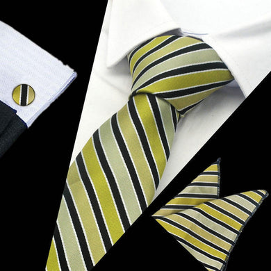 Mens Green Black Stripe Silk Tie Hanky Cufflinks - GENTS CLOBBER