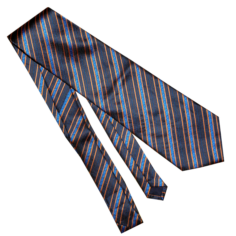 BLUE ORANGE STRIPED TIE | GENTS CLOBBER