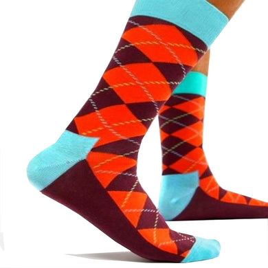 Happy Socks Mens Pair Orange Argyle Diamond UK 7½-11½ - GENTS CLOBBER
