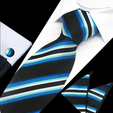 Mens Black Blue White Striped Silk Tie Hanky Cufflinks - GENTS CLOBBER