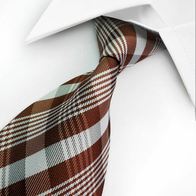 MENS SILK TIE | BROWN | STRIPES | GENTS CLOBBER