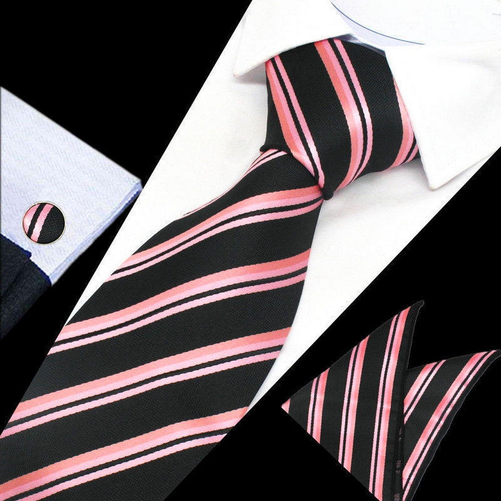 Mens Black Pink Stripe Silk Tie Hanky Cufflinks - GENTS CLOBBER