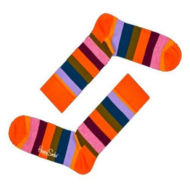 Happy Socks Mens Pair Orange Multi Striped UK 7½-11½ - GENTS CLOBBER
