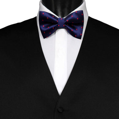Pre-Tied Mens Adjustable Silk Navy Blue Red Polka Dot Bow Tie