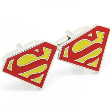 Superman Mens Novelty Silver Plated Zinc Alloy Cufflinks - GENTS CLOBBER