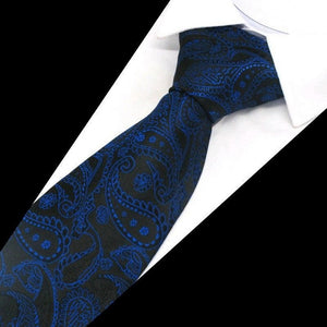 ROYAL BLUE PAISLEY TIE | BLACK BLUE PATTERN | GENTS CLOBBER