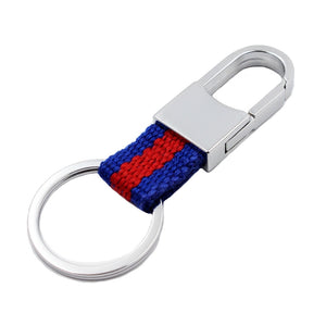 Chunky Blue Red Stripe Fabric Chrome Silver Keyring - GENTS CLOBBER
