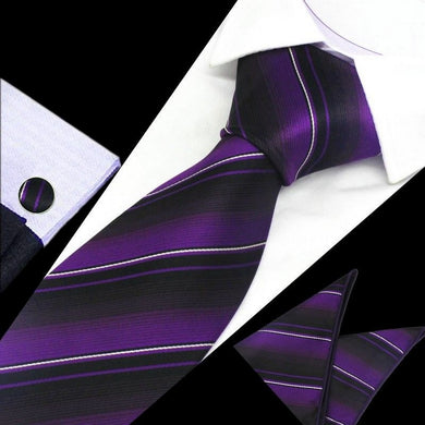 Mens Purple Black White Stripe Silk Tie Hanky Cufflinks - GENTS CLOBBER