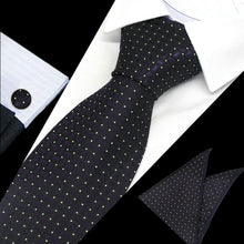 Load image into Gallery viewer, Mens Black Purple White Dot Check Silk Tie Hanky Cufflinks - GENTS CLOBBER