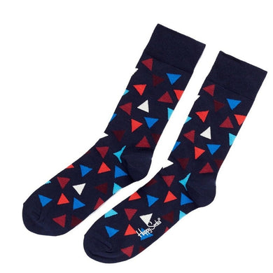 Happy Socks Mens Pair Navy Blue Shapes Triangles UK 7½-11½ - GENTS CLOBBER