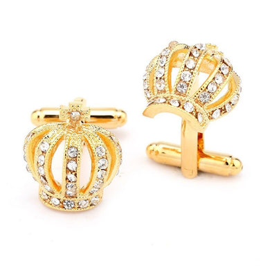 ROYAL CROWN CUFFLINKS | GOLD RHINESTONE | GENTS CLOBBER