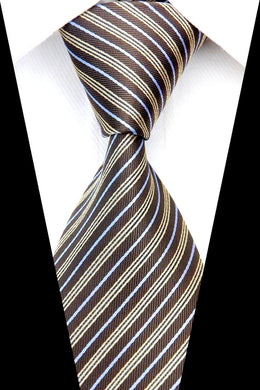 BROWN STRIPED TIE | SILK TIE | GENTS CLOBBER