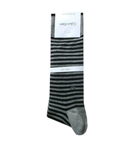 CK SOCKS | BLACK GREY STRIPES | CK LOGO