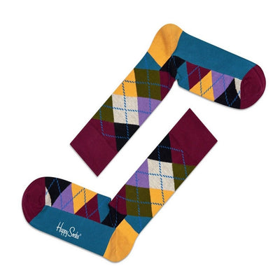 Happy Socks Mens Pair Burgundy Multi Argyle Diamond UK 7½-11½ - GENTS CLOBBER