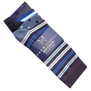 CREW CLOTHING STRIPED SOCKS | 3 PACK | NAVY BLUE