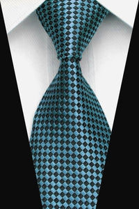 Classic Mens Light Blue Black Diamond Check Silk Tie - GENTS CLOBBER