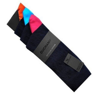 DUCHAMP TIPPED SOCKS | 3 PACK | BLACK | GENTS CLOBBER