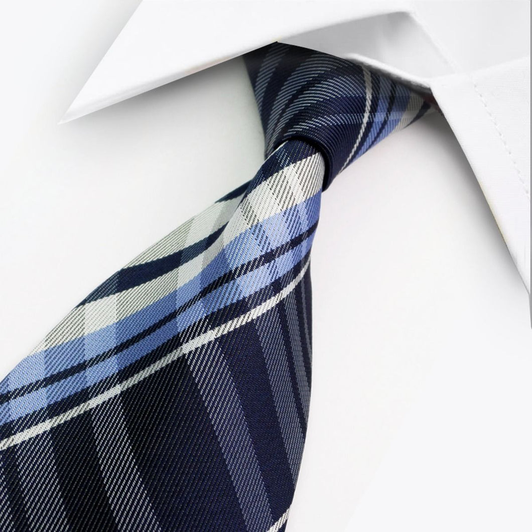 Classic Mens Two Tone Blue White Stripe Check Silk Tie - GENTS CLOBBER