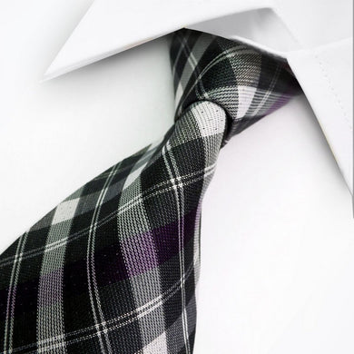 SILK TIE | BLACK PURPLE STRIPED | GENTS CLOBBER