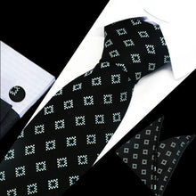 Load image into Gallery viewer, Mens Black Blue White Check Silk Tie Hanky Cufflinks - GENTS CLOBBER