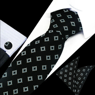 Mens Black Blue White Check Silk Tie Hanky Cufflinks - GENTS CLOBBER