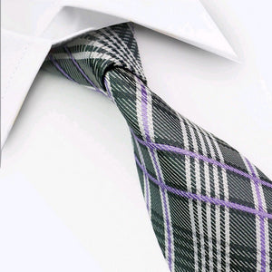 SILK TIE | GREY LIGHT PURPLE | GENTS CLOBBER