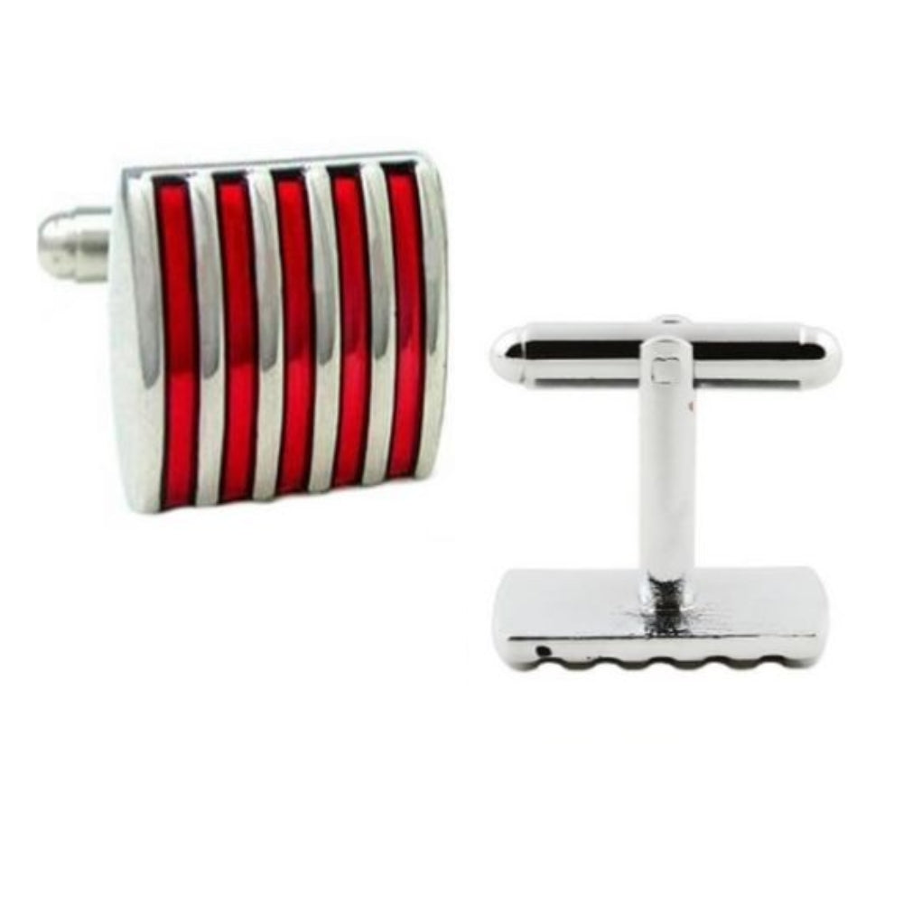 RED STRIPE CUFFLINKS | SILVER PLATED | GENTS CLOBBER