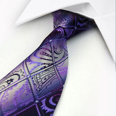 SILK TIE | LUXURY | FLORAL | PURPLE | GENTS CLOBBER