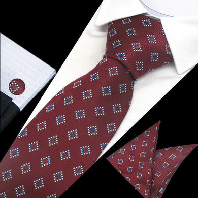Mens Red Diamond Check Silk Tie Hanky Cufflinks - GENTS CLOBBER