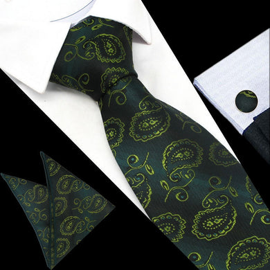 Mens Green Paisley Silk Tie Hanky Cufflinks - GENTS CLOBBER