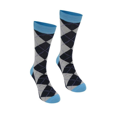 Happy Socks Mens Pair Blue Argyle Diamond UK 7½-11½ - GENTS CLOBBER