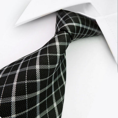 GEOMETRIC STRIPED TIE | BLACK WHITE | GENTS CLOBBER