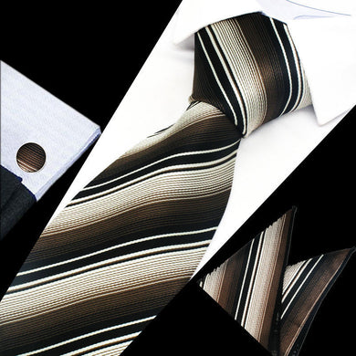 Mens Brown Black Stripe Silk Tie Hanky Cufflinks - GENTS CLOBBER
