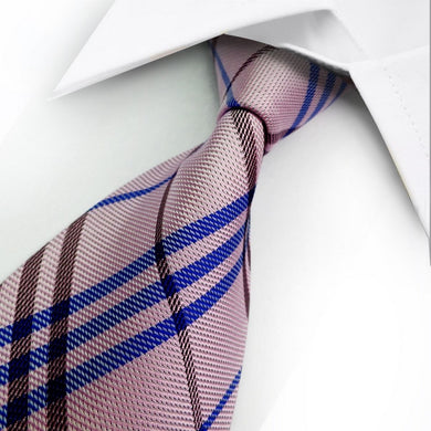 PINK SILK TIE | BLUE STRIPES | GENTS CLOBBER