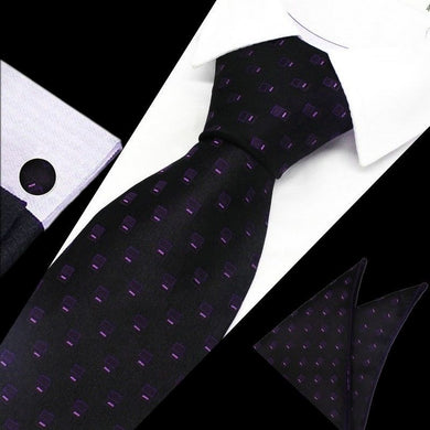 Mens Black Purple Geometric Silk Tie Hanky Cufflinks - GENTS CLOBBER