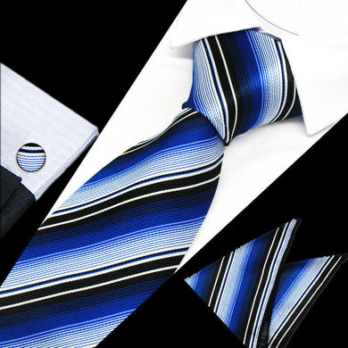 Mens Black Blue White Stripe Silk Tie Hanky Cufflinks - GENTS CLOBBER