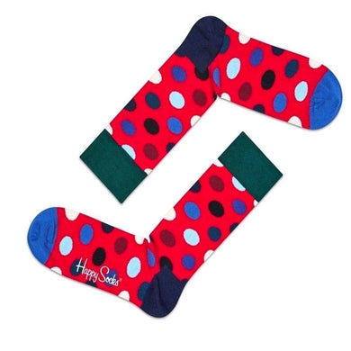 Happy Socks Mens Pair Red Blue Big Dot Socks UK 7½-11½ - GENTS CLOBBER