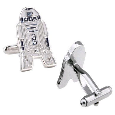 Star Wars R2D2 Retro Mens Novelty Silver Plated Zinc Alloy Cufflinks - GENTS CLOBBER