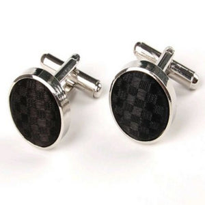 OVAL CUFFLINKS | BLACK CHECK | GENTS CLOBBER